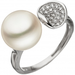 Damen Ring 925 Silber 1 Süßwasser Perle mit Zirkonia Perlenring Silberring