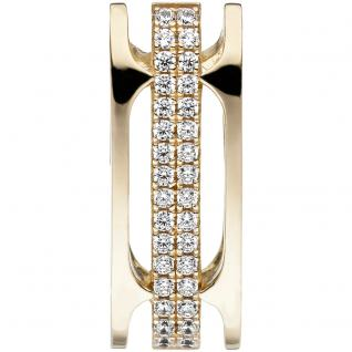 Anhänger 925 Sterling Silber gold vergoldet 32 Zirkonia