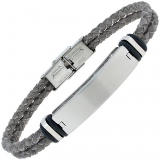 Armband Leder grau geflochten mit Edelstahl matt 19 cm