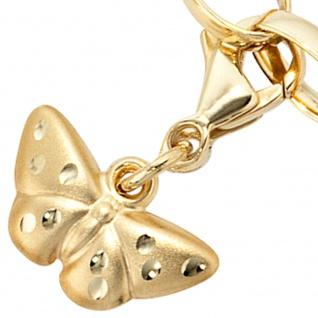 Einhänger Charm Schmetterling aus 333 Gold Gelbgold matt Goldcharm