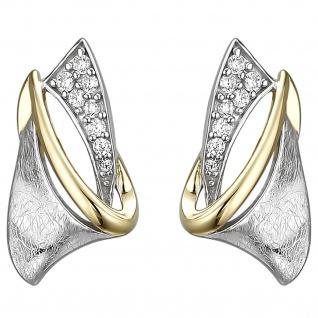 Ohrstecker 925 Sterling Silber bicolor vergoldet eismatt 16 Zirkonia Ohrringe