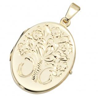 Medaillon oval Blumen 585 Gold Gelbgold Anhänger zum Öffnen - Vorschau 4