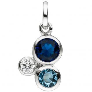 Anhänger 925 Sterling Silber mit 3 Zirkonia blau und weiß Silberanhänger