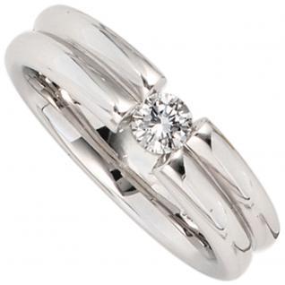 Damen Ring 750 Gold Weißgold 1 Diamant Brillant 0, 22ct. Goldring