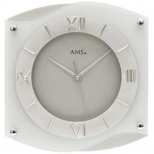 AMS 9321 Wanduhr Quarz analog silbern leise ohne Ticken geschwungen mit Glas