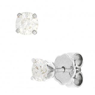 Ohrstecker rund 585 Gold Weißgold 2 Diamanten Brillanten 0, 25ct. Ohrringe