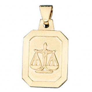 Anhänger Sternzeichen Waage 333 Gold Gelbgold matt Sternzeichenanhänger