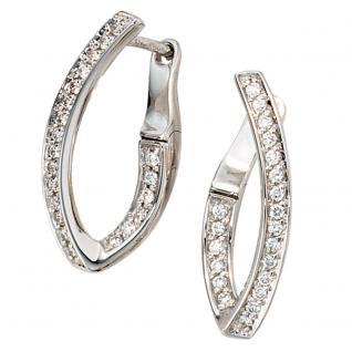 Creolen 585 Gold Weißgold 42 Diamanten Brillanten Ohrringe Weißgoldcreolen - Vorschau 2