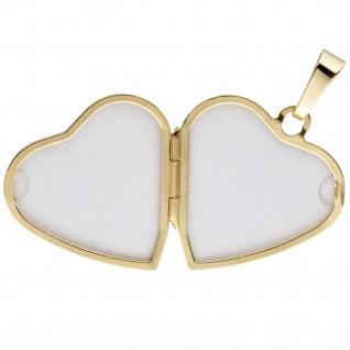 Medaillon Herz Anhänger zum Öffnen für Fotos 333 Gold 1 Zirkonia mit Kette 45 cm - Vorschau 5