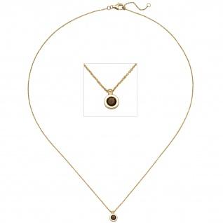 Collier Kette mit Anhänger 585 Gold Gelbgold 1 Rauchquarz 45 cm Halskette