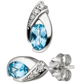 Ohrstecker 925 Sterling Silber 2 Blautopase hellblau blau und Zirkonia Ohrringe