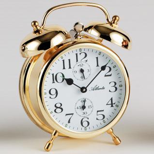 Atlanta 1058/9 Mechanischer Wecker Glockenwecker Doppelglockenwecker golden - Vorschau 3