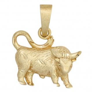 Anhänger Sternzeichen Stier 925 Sterling Silber gold vergoldet matt