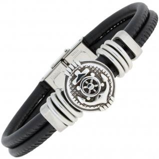 Armband Anker Leder schwarz mit Edelstahl teil matt 19 cm