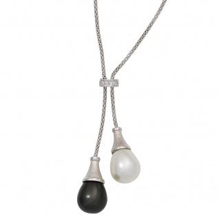 Collier Kette mit Anhänger 925 Silber 2 Perlen mit Zirkonia 47 cm Halskette