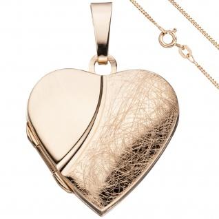 Medaillon Herz Anhänger zum Öffnen 925 Silber rosegold vergoldet mit Kette 50 cm