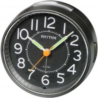 Rhythm 70850/7 Wecker Quarz analog schwarz leise rund mit Licht Snooze