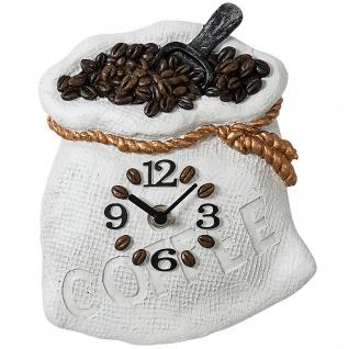 Atlanta 6106 Küchenuhr Wanduhr Küche Quarz analog weiß braun Motiv Kaffeesack