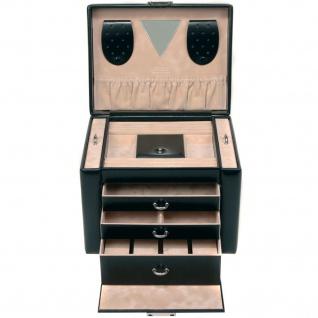 Sacher Schmuckkoffer Schmuckkasten schwarz abschließbar Uhrenfach Schubladen - Vorschau 4