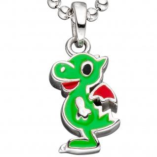 Kinder Anhänger Drache 925 Sterling Silber grün rot lackiert Kinderanhänger - Vorschau 2