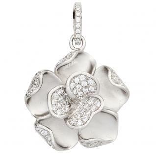 Anhänger Blume 925 Sterling Silber rhodiniert mattiert mit Zirkonia