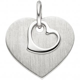 Anhänger Herz 925 Sterling Silber mattiert Herzanhänger Silberanhänger
