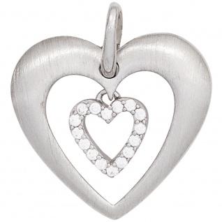 Anhänger Herz 925 Sterling Silber rhodiniert mattiert mit Zirkonia Herzanhänger