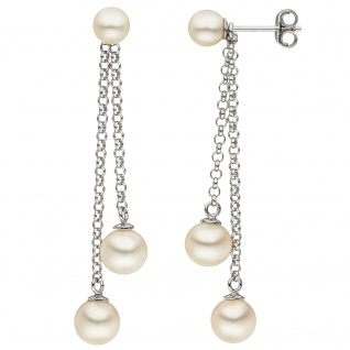 Ohrstecker 925 Sterling Silber 6 Süßwasser Perlen Ohrringe Perlenohrringe