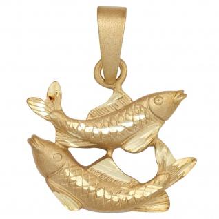 Anhänger Sternzeichen Fische 925 Sterling Silber gold vergoldet matt