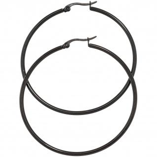 Creolen rund groß Edelstahl schwarz beschichtet Ohrringe