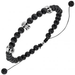 Armband Totenkopf Onyx Perlen schwarz 21, 5 cm Onyxarmband Zugarmband