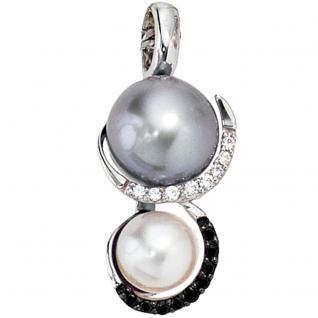 Anhänger 585 Gold Weißgold 2 Süßwasser Perlen 17 Diamanten Perlenanhänger