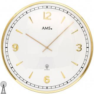 AMS 5609 Wanduhr Funk Funkwanduhr analog golden rund