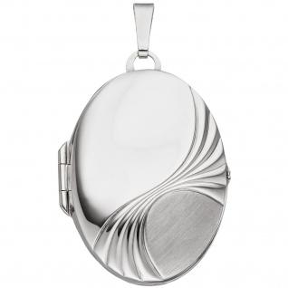 Medaillon oval für 2 Fotos 925 Sterling Silber rhodiniert Anhänger zum Öffnen