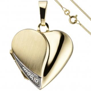Medaillon Herz Anhänger zum Öffnen für Fotos 333 Gold 1 Zirkonia mit Kette 45 cm