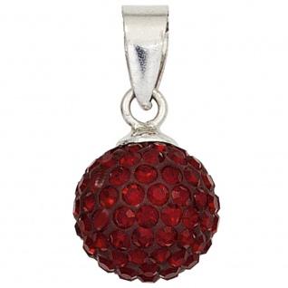 Anhänger Kugel 925 Sterling Silber rhodiniert mit Kristallen rot