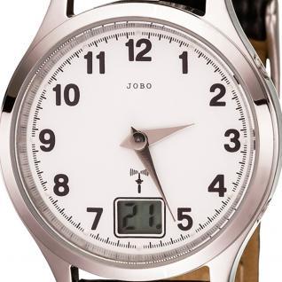 JOBO Damen Armbanduhr Funk Funkuhr Edelstahl Lederband schwarz Datum Damenuhr - Vorschau 2