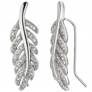 Ohrhänger Feder 925 Sterling Silber mit Zirkonia Ohrringe Silberohrringe