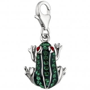 Einhänger Charm Frosch 925 Silber mit Kristallen grün lackiert