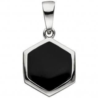 Anhänger Sechseck 925 Sterling Silber schwarz lackiert
