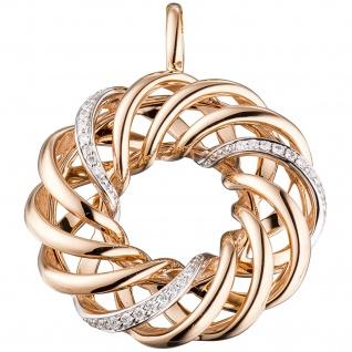 Anhänger verschlungen 585 Gold Rotgold 30 Diamanten Brillanten Diamantanhänger