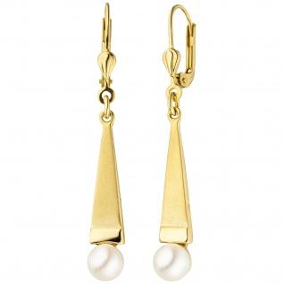 Ohrhänger 375 Gold Gelbgold teil matt 2 Akoya Perlen Ohrringe Perlenohrringe