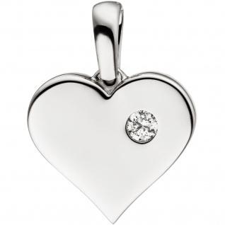Anhänger Herz 585 Gold Weißgold 1 Diamant Brillant Herzanhänger