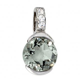 Anhänger 585 Gold Weißgold 3 Diamanten Brillanten 1 grüner Amethyst