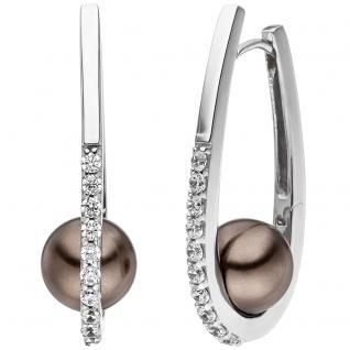 Creolen 925 Sterling Silber 2 Perlen braun 20 Zirkonia Ohrringe Perlenohrringe