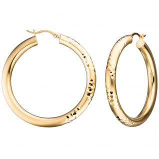 Creolen rund 925 Sterling Silber gold vergoldet mattiert Ohrringe