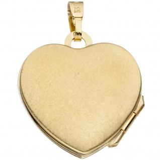 Medaillon Herz Anhänger zum Öffnen für Fotos 333 Gold 3 Zirkonia mit Kette 50 cm - Vorschau 4