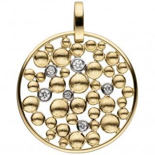 Anhänger rund 585 Gold Gelbgold 6 Diamanten Brillanten Diamantanhänger