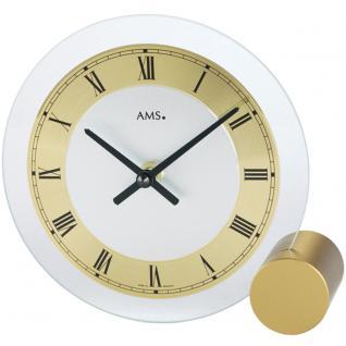 AMS 168 Tischuhr Quarz golden rund modern Metall mit Glas römische Ziffern