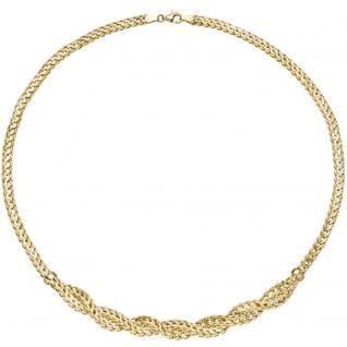 Collier Halskette geflochten 585 Gold Gelbgold 45 cm Kette Goldkette